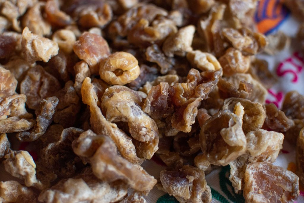 Papa seca or dried potatoes ready for storage or consumption