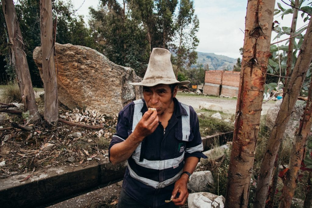 Alberto a local farmer tasting and sharing his freshly fermented Tocosh  with the authors of this blog